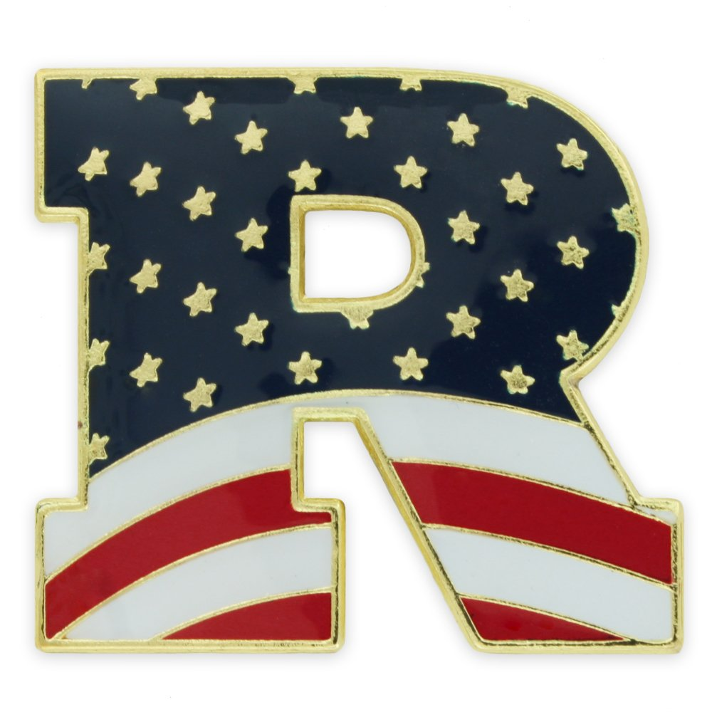 PinMart's American Flag Republican Party ''R'' Patriotic Enamel Lapel Pin
