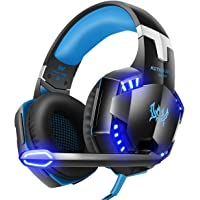 G2000 Stereo Gaming Headset for PS4 Xbox One, Bass Over-Ear Headphones with Mic, LED Lights and Volume Control for Laptop, PC, Mac, iPad, Computer, Smartphones, Blue