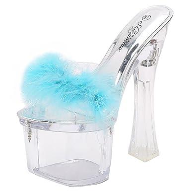 JYshoes Extrem Plateau High Heels Pantoffeln mit Strass Damen Elegant Transparent Sandalen Slippers kKHo4j70hD
