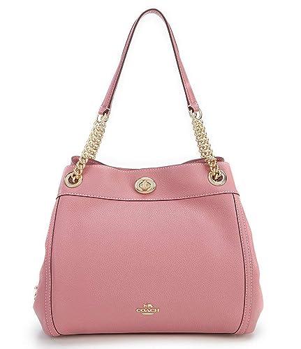 e293c9e73e2 Coach Edie Turnlock Leather Shoulder Bag, Rose  Handbags  Amazon.com