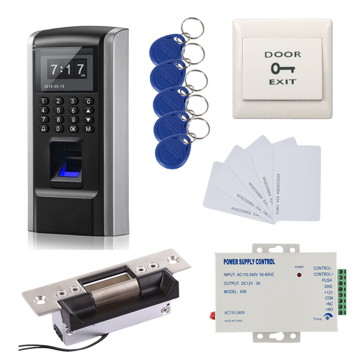 Great Deals! Bio Fingerprint + Password +ID Card Biometric Access Control & Biometric Door Lock Door Lock Entry Kit (ANSI Strike Lock)