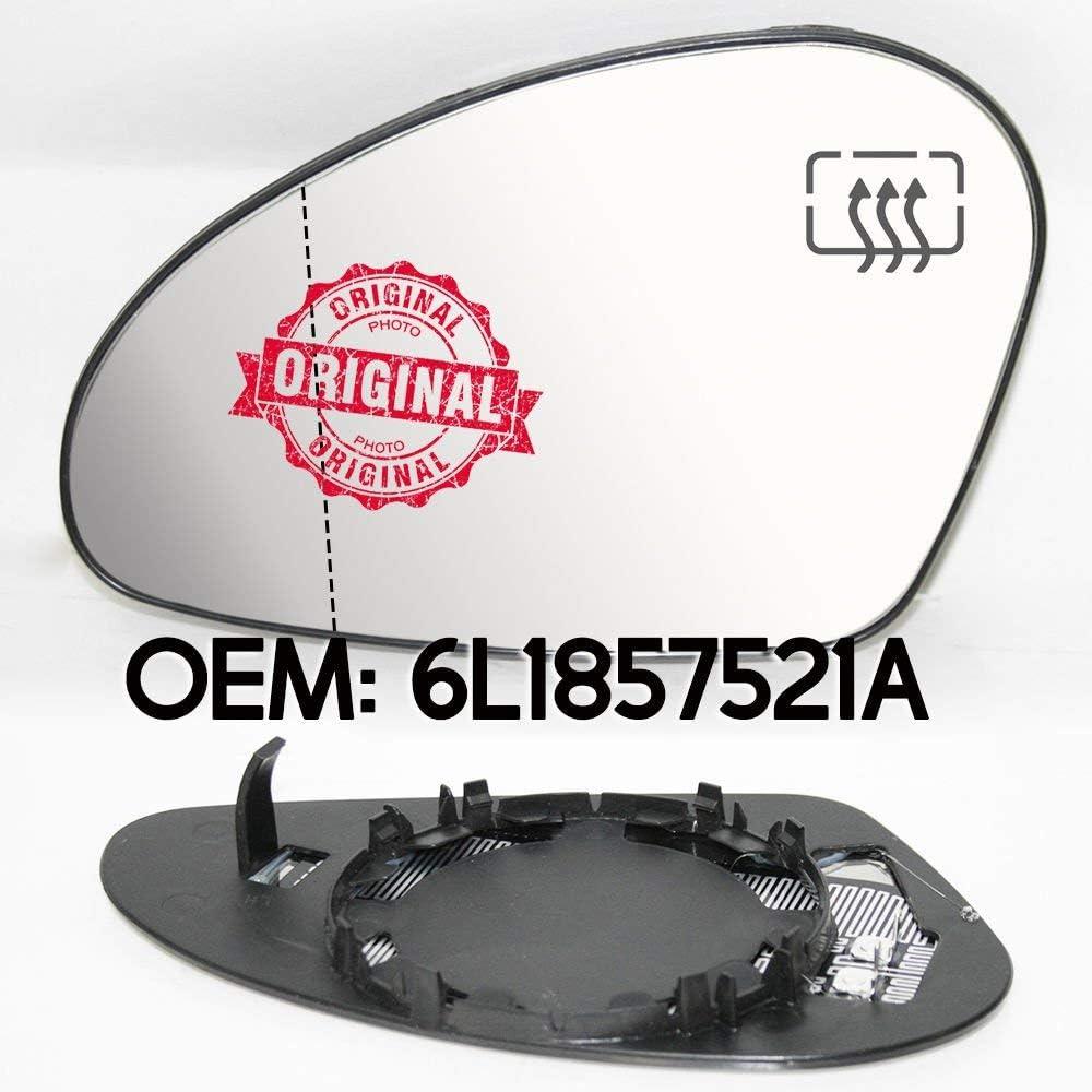 2008 OEM 6L1857521A Espejo retrovisor izquierdo de gran /ángulo con base y calefacci/ón para Ibiza 2002