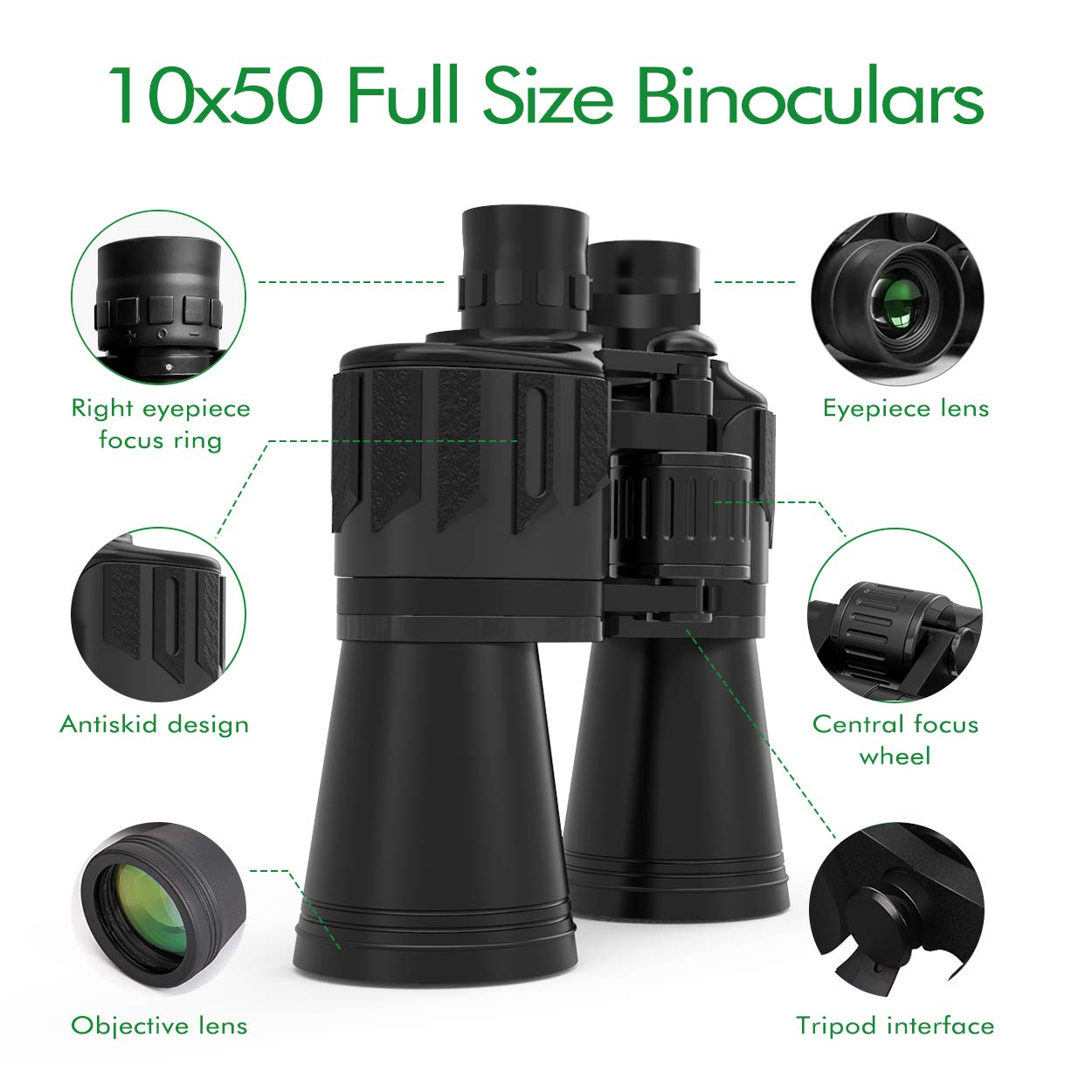 Binoculars for Adults, Sinohrd 10x50 Compact Powerful HD Binoculars for Bird Watching,Traveling,Hunting,Concerts,Sightseeing Telescope with Strap Carrying Bag & Phone Mount