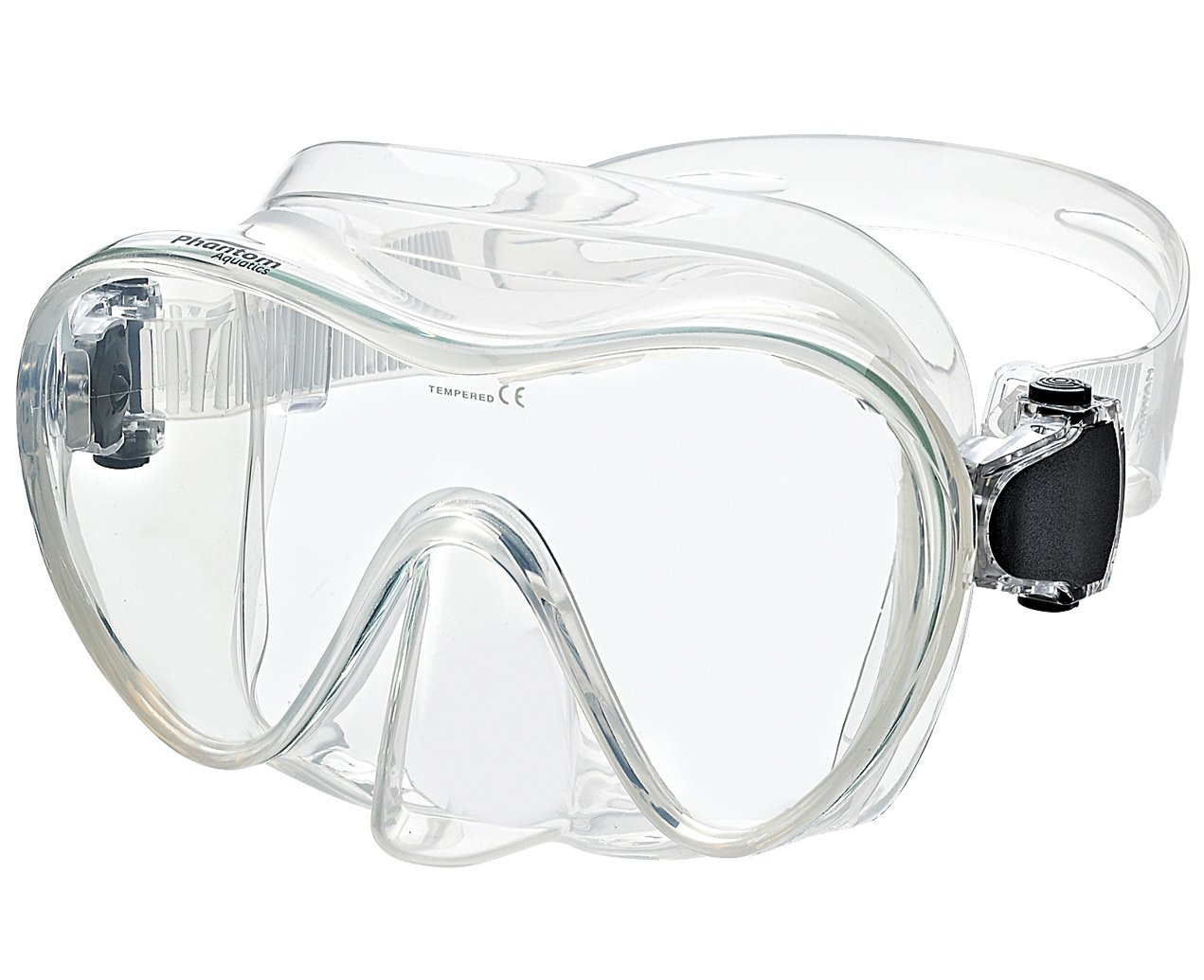 Phantom Aquatics Frameless Mask with Adjustable Neoprene Mask Strap, Clear by Phantom Aquatics