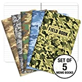 Field Notebook - 5''x8'' - Camouflage - Lined Memo Book - Pack of 5