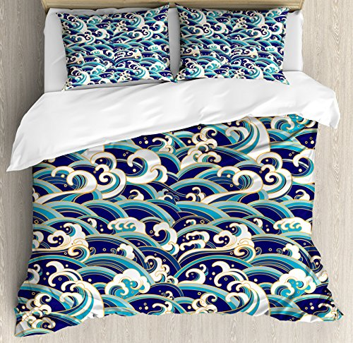 Ambesonne Nautical Duvet Cover Set King Size, Traditional