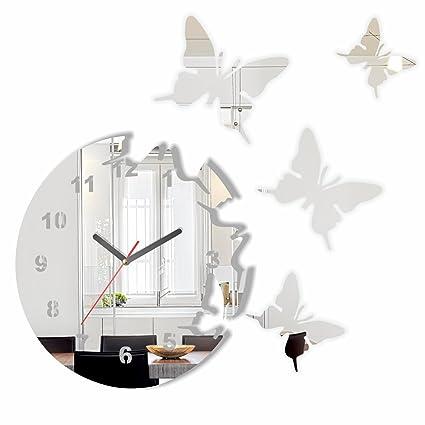 Specchio orologio da parete salotto tondo moderno FARFALLE ...