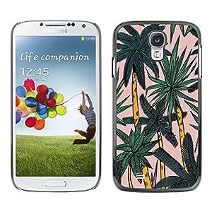 TopCaseStore / la caja del caucho duro de la cubierta de protección de la piel - Palm Tree Miami Watercolor Palms Tropical - Samsung Galaxy S4 I9500
