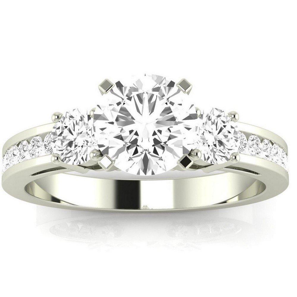 1.05 Carat t.w. 14K White Gold Round Channel Set 3 Three Stone Diamond Engagement Ring K VS1-VS2 Clarity Center Stones.
