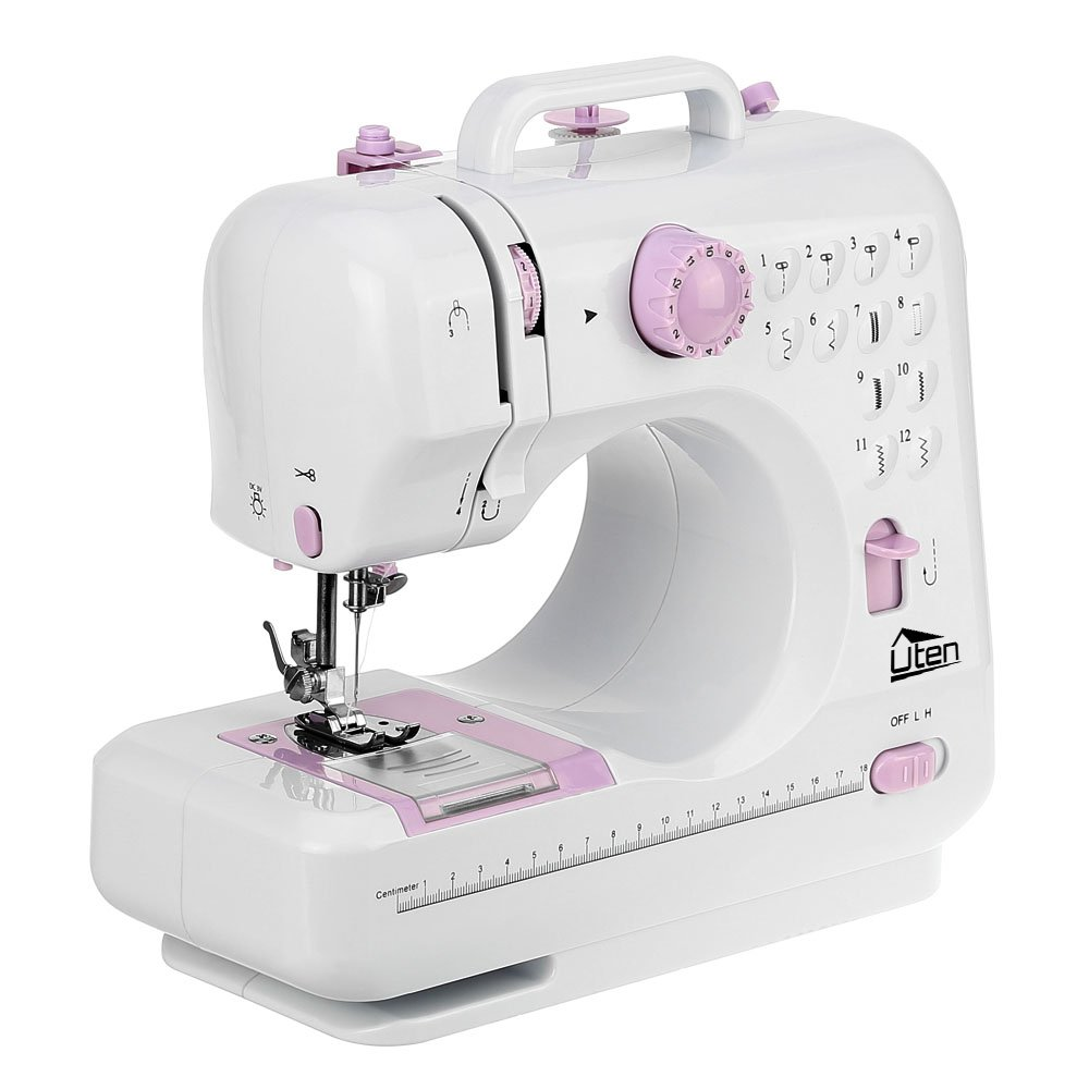 Electric Overlock Sewing Machine Small Household Sewing Tool 2 Speed 12 Stitches Uten