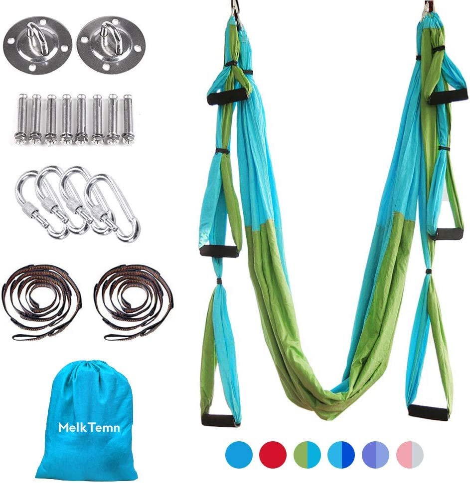 MelkTemn Aerial Yoga Swing Set,Aerial Yoga Hammock Trapeze,Ultra Strong Antigravity Yoga Hammock//Sling//Inversion Tool,Aerial Pilates Silk Yoga Swing Set