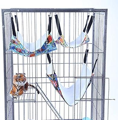Hillent gato hamacas cama uso con jaula o silla, reversible 2 lados pequeña mascota hamaca para gatito, hurón, conejo, búho de cachemira impreso pequeño ...