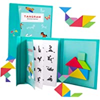 Toyvian Wooden Montessori Tangram Puzzle Toys Travel Shape Puzzles Montessori Brain Teaser for Kids Adults
