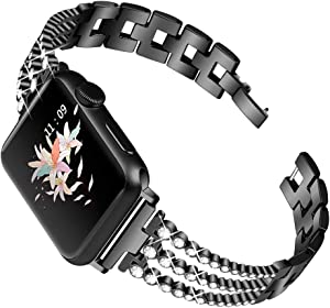 OULUCCI Bling Band Compatible for Apple Watch Band SE Series 6 5 4 40mm/ iWatch Series 3 2 1 38mm, Wristband Strap Stainless Steel Metal Bangle Bracelet with Tool