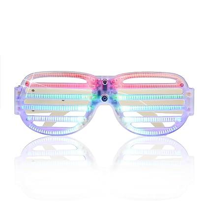 ac29b2ed5a2b LED Light Up Glow Party Glasses Luminous Flashing Sound Activated Rave  Birthday Halloween Eyewear