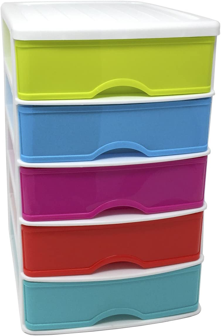 Cajonera de plástico 5 cajones multicolor 28 x 21.5 x 17.5 cm