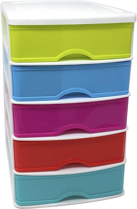 Cajonera de plástico 5 cajones multicolor 28 x 21.5 x 17.5 cm: Amazon.es: Hogar