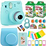 FujiFilm Instax Mini 9 Instant Camera + Instax Film (40 Sheets) + Accessories Bundle - Carrying Case, Color Filters, Photo Album, Stickers, Selfie Lens + MORE (Ice Blue)