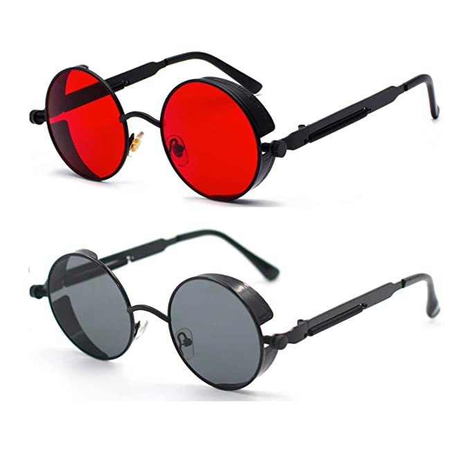 ProudDemon Retro Gothic Steampunk Sunglasses for Women Men Round Lens Metal Frame