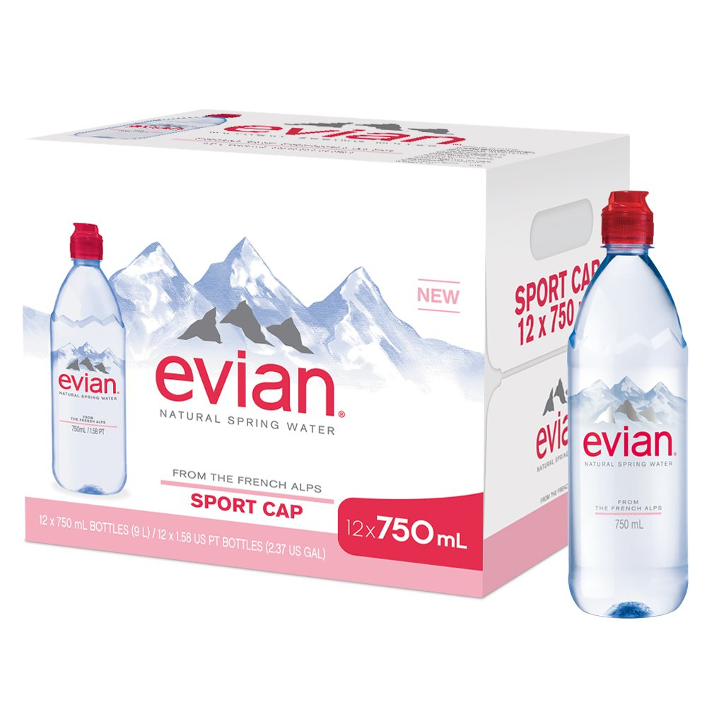 evian Natural Spring Water, 750 ml (25.36 fluid ounce) Water Bottle with Sports Cap, 12 Pack by evian