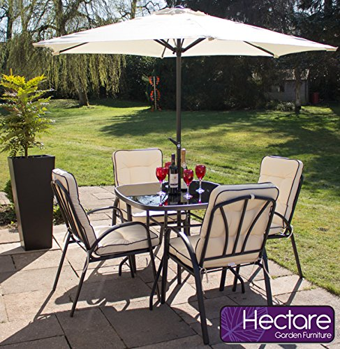 hadleigh 4 seater steel garden patio outdoor furniture set by hectare - Garden Furniture Steel