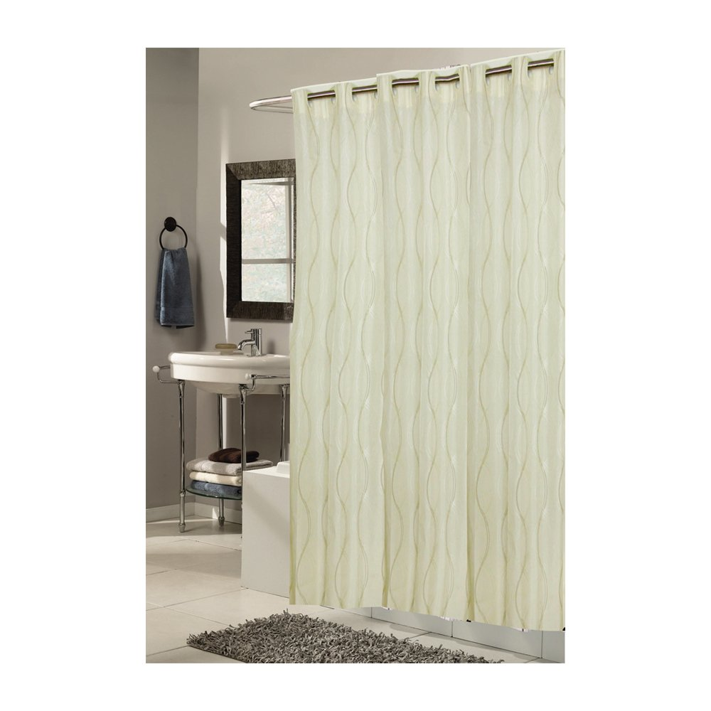 Amazon.com: Carnation Home Fashions EZ On No Hooks Needed! 70 By 84 Inch  Fabric Shower Curtain, X Long, Harlequin, Grays/White: Home U0026 Kitchen