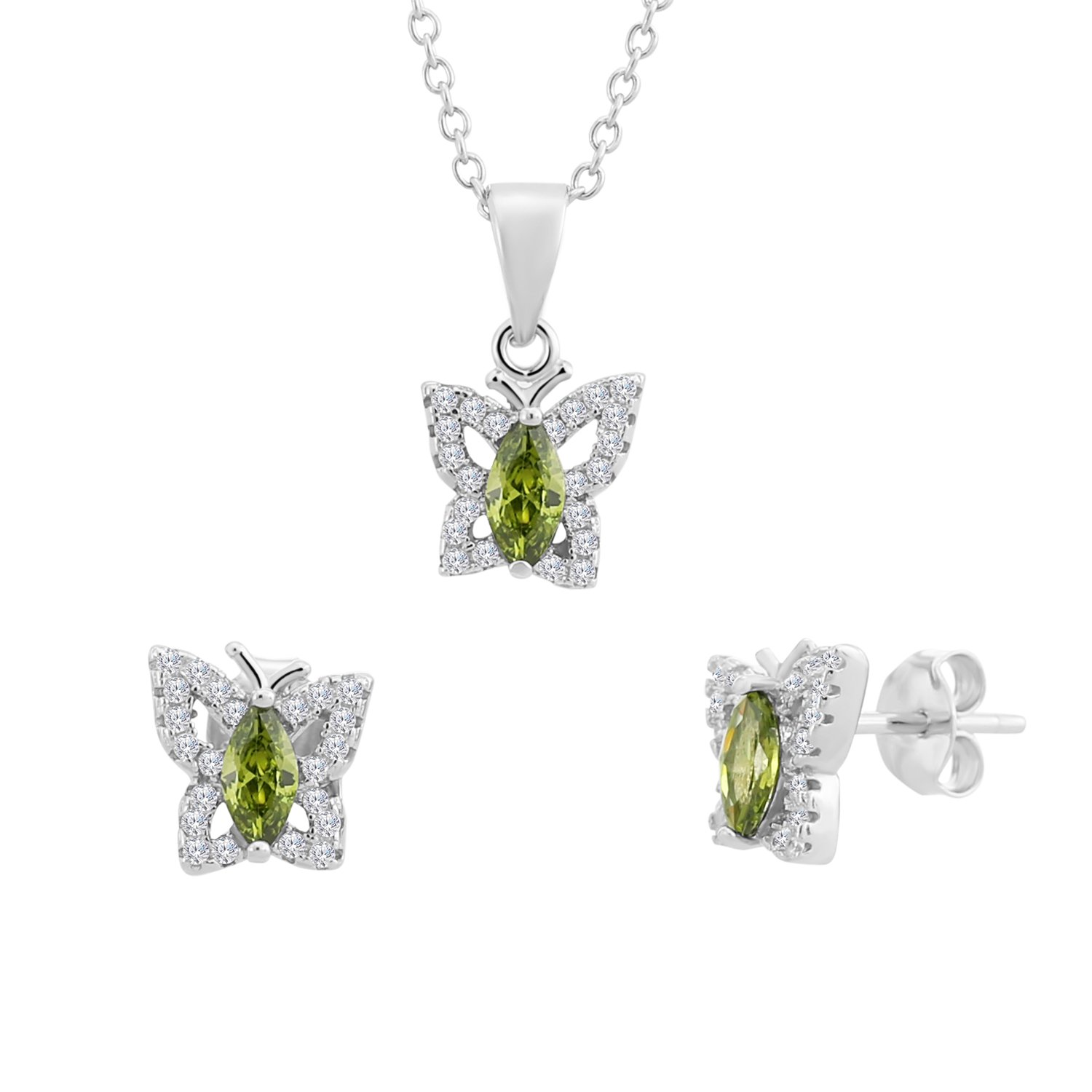 Sterling Silver Halo Butterfly Earrings and Pendant Set with Simulated Birthstone & CZ, 18''