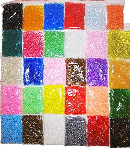 Rocailles 3mm 50 Farben GLAS PERLEN Rund 8//0 17000stk POSTEN Seed Beads Mix AM52