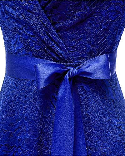 Encaje Azul Manga Cinturón Fiesta Cóctel con Media De Cuello Real Floral Vestido Bridesmay Mujeres De V YS6wqxRx