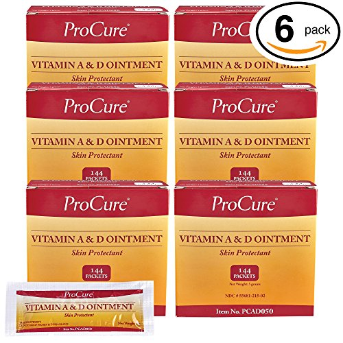 ProCure Vitamin A and D Ointment 5g Packets, 864 Count Case Pack – Treats and Prevents Diaper Rash - Lanolin and Petrolatum Skin Protectant Formula Seals in Wetness - for Cuts, Dry Or Chaffed Skin