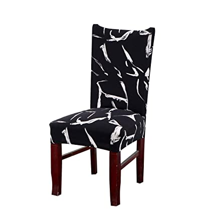 Enjoyable Vonty Geometric Pattern Stretchy Dining Chair Covers Floral Removable Chair Slipcover Protector 1 Piece Black White Pdpeps Interior Chair Design Pdpepsorg