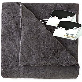Biddeford 2034-905291-902 MicroPlush Electric Heated Blanket King Grey