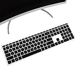 """MUBUY Keyboard Cover for HP Pavilion 23.8"""" 24"""" 27"""" All in One Desktop xa0020 xa0032 xa0013w xa0040 xa0050 xa0080 xa0014 0370Nd 0010Na 0076Hk  HP Pavilion Wireless Keyboard Combo 800 600-Black"""