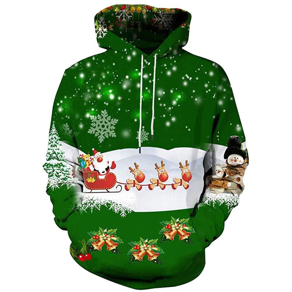 TUSANG Mens 3D Printed Christmas Pullover Long Sleeve Hooded Sweatshirt Tops Blouse Coat