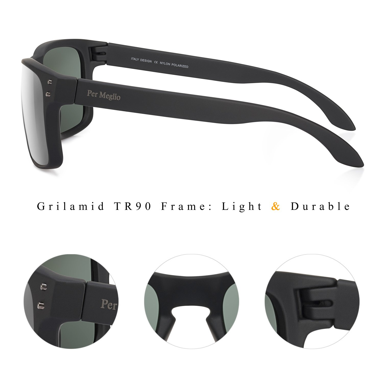 Polarized Sunglasses for Men 100% UV Protection Wayfarer Sun Glasses for Driving Men Clear Vision - Rectangular TR90 Frames by Per Meglio (Image #4)