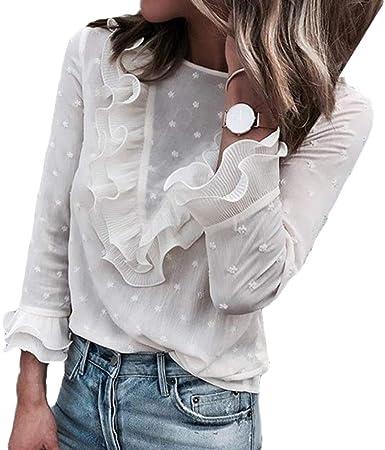 Mujeres Cuello Redondo V Volantes Patchwork Manga Larga Camisa Volantes Blusa Top S-XL: Amazon.es: Ropa y accesorios