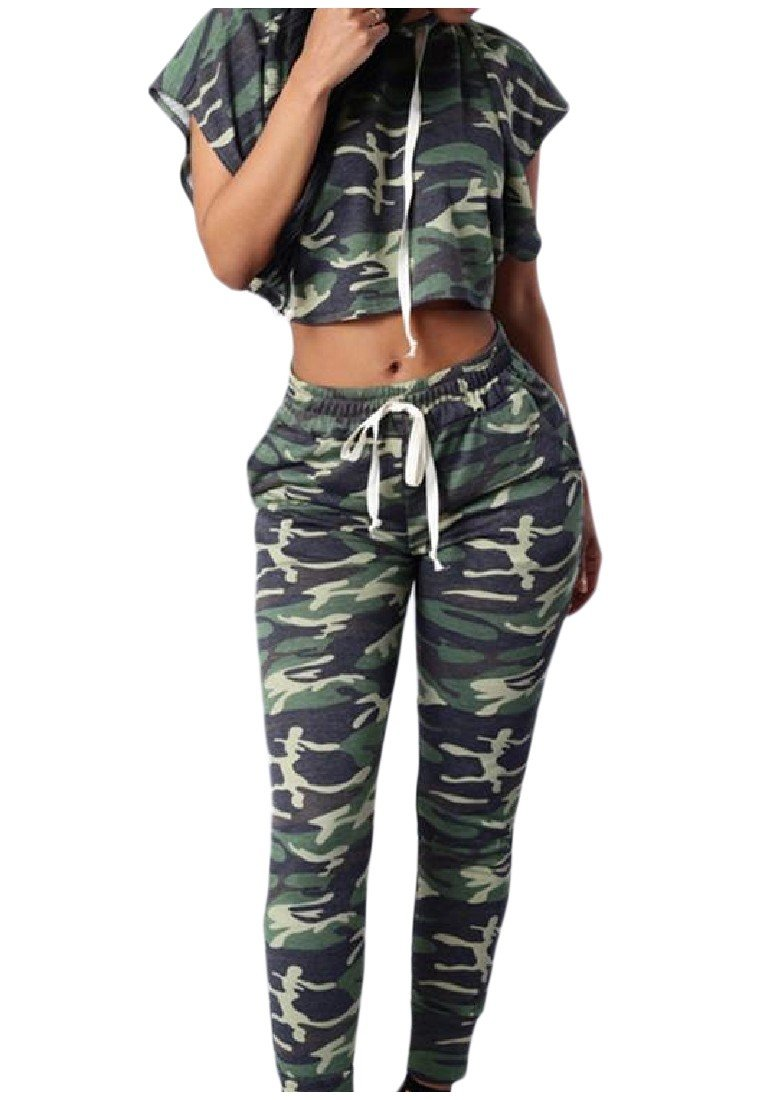 Coolred-Women Basic Style Camo Short Sleeve Hooded Sport Sweat Suit Set L