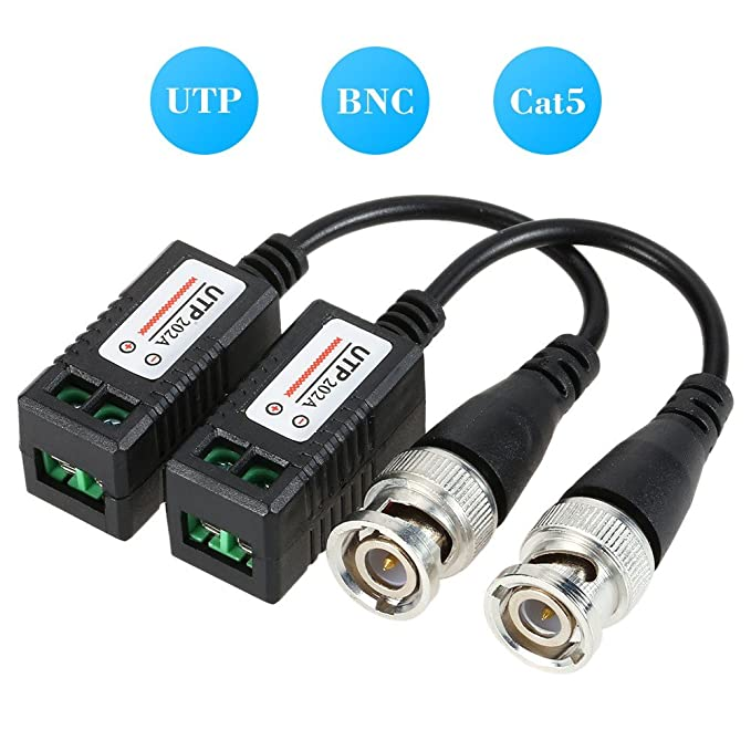 Amazon.com: Maxmoral 4 Pairs Gold Plated BNC Video Balun Transceiver Connector,Video Balun BNC Cable,UTP Coaxial Cable Adapter Twisted Pair Transmission for ...