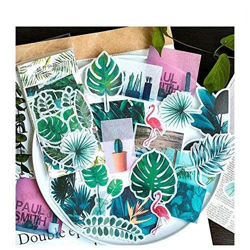 Tropical Scrapbook Stickers - Aolvo Ephemera Pack (60 PCS), Tropical Plants Style Note Stickers Easy Self-Adhesive Flowers Roses Garden Wildflowers Butterflies for Scrapbook, Notebook, Journal, Card Making, Letters
