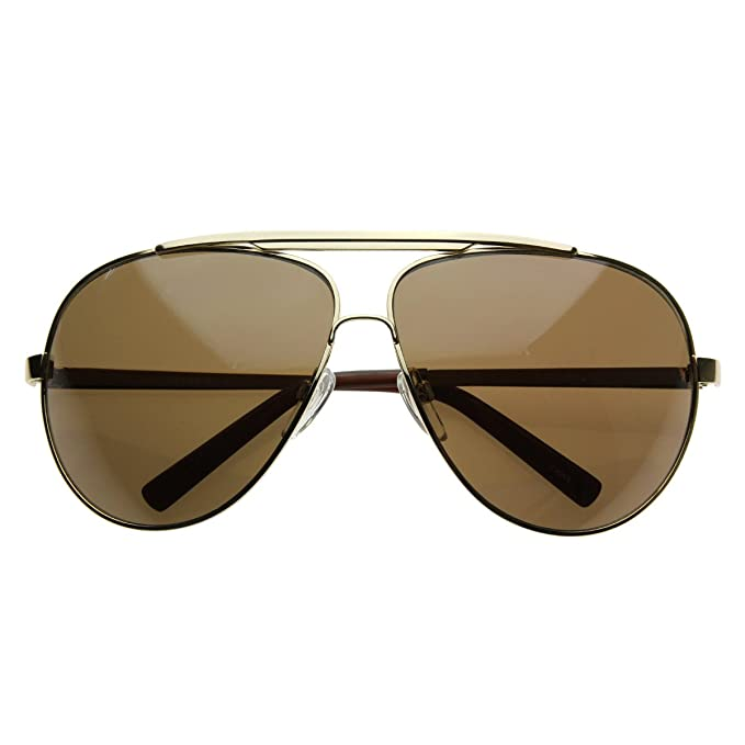 zeroUV - 70 s Big Frame Oversized Aviator Sunglasses for Men and Women 70mm  (Gold  c5200e6268