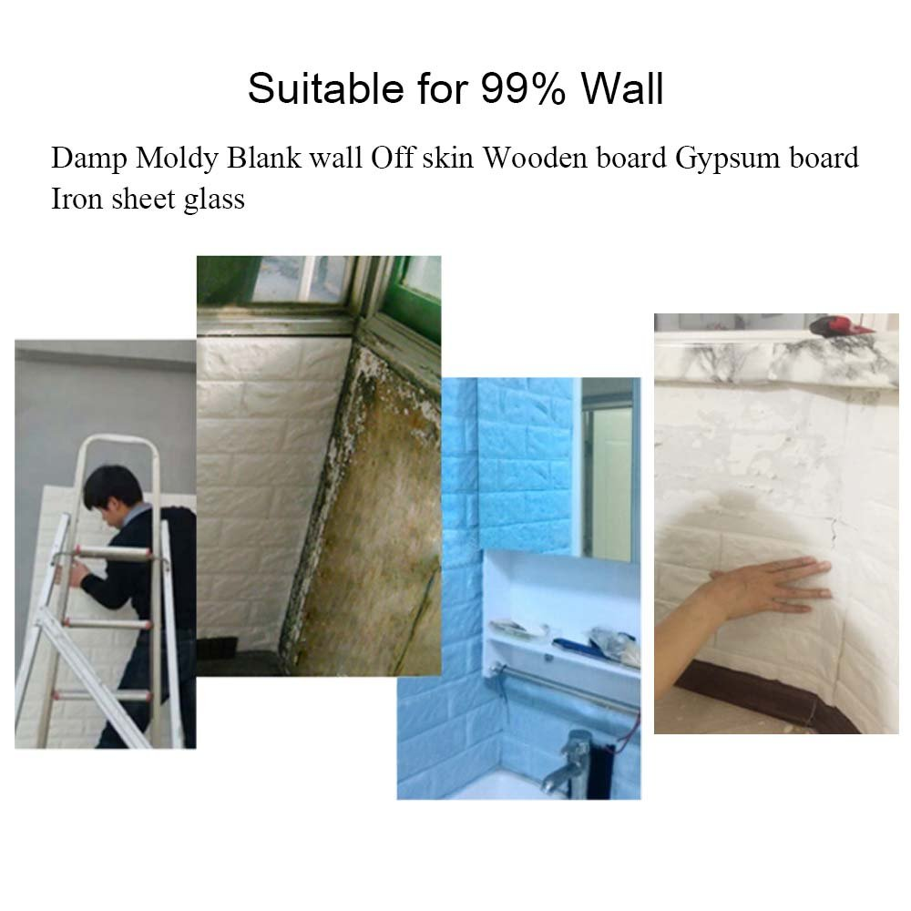 3D Brick Wall Stickers, FOME PE Foam 3D Brick Wall Tile Easy Self-Adhesive Design Wall Paper Wall Tile Stickers 3D Decorative Soft Panels for Kitchen/Bathroom/Living Room/Bedroom Decor 30.3x27.6 inch by FOME (Image #2)