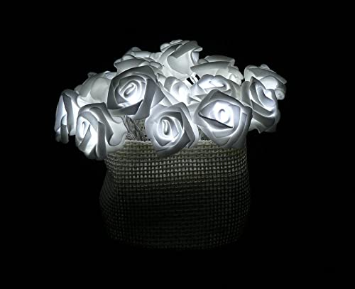 Fortune Products ROSE-100W Roses on a String Light Set, 10 Length, Cool White Lights Case of 24 Strands