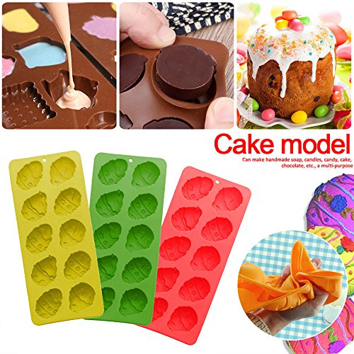 Dumplings Clip Clearance , 10 Easter Egg Silicone Chocolate Mold DIY Baking Biscuit Cake Mold Random Colors  by Little Story -