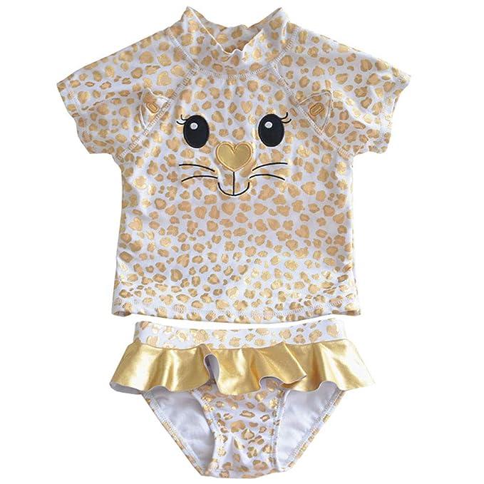 Amazon.com: Traje de baño de dos piezas para bebé niña, con ...