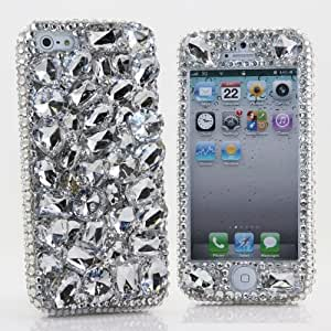 Iphone 5 5s Luxury 3d Bling Case - Elegant Clear Silver Gem Fantasy Dream Design - Swarovski Crystal Diamond Sparkle Girly Protective Cover Faceplate (100% Handcrafted By Star33mall)