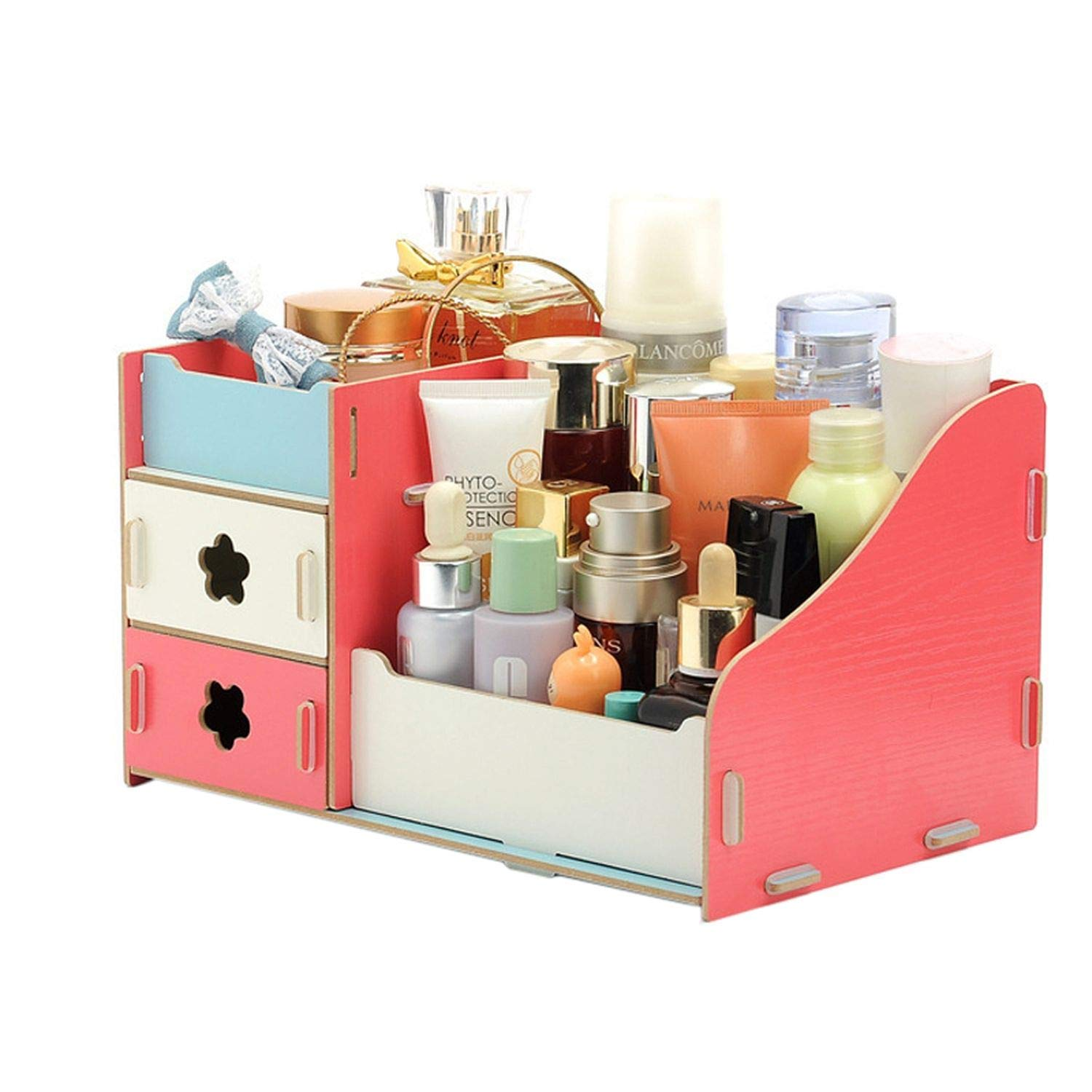 Collocation-Online Wooden Cosmetic Storage Boxes Small Drawer Jewelry Box Desktop Sundries Handmade DIY Makeup,Flower A by Collocation-Online (Image #5)