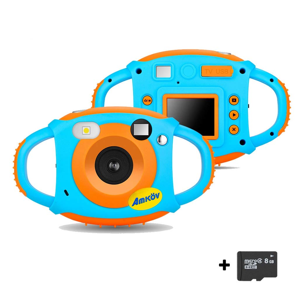 WiFi Digital Camera for Kids - Rechargeable 1.77 Inch 8MP LCD Color Screen 1080P HD Digital Video Camera with 8GB SD Card - Shockproof Design - Creative Gifts for Kids (Blue, Ship from USA) by Dacawin-Kids Toys