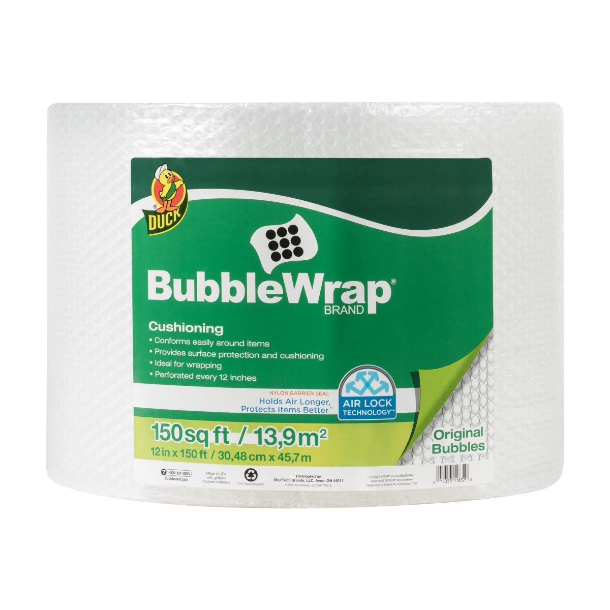 Duck Brand Bubble Wrap Roll, 3/16'' Original Bubble Cushioning, 12'' x 150', Perforated Every 12'' (284054)