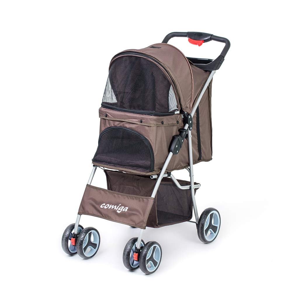 Comiga Pet Stroller, 4-Wheel Cat Stroller, Foldable Dog Stroller with Removable Liner and Storage Basket, for Small-Medium Pet,Coffee by Comiga