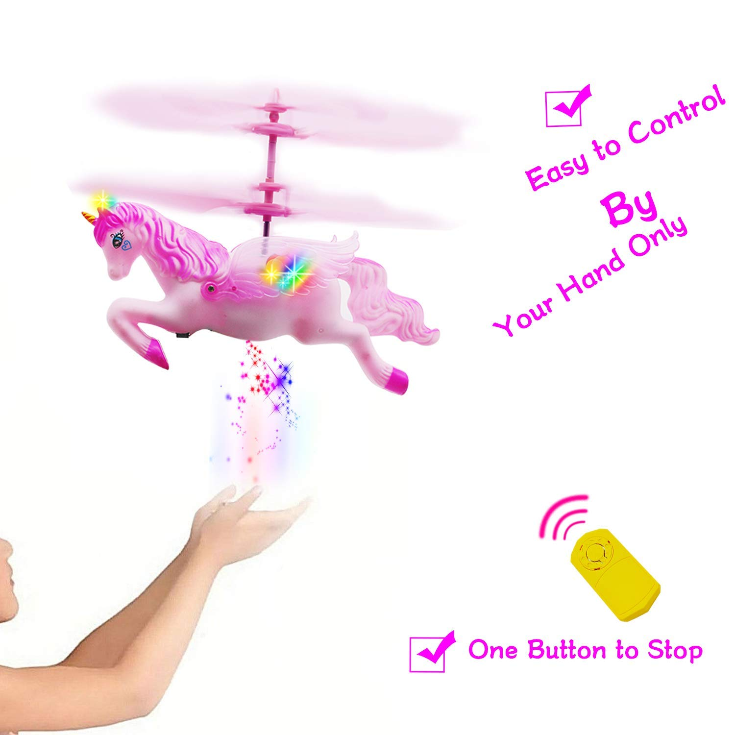CJWPOWER Unicorn Toys, Pink Mini Flying Helicopter Unicorn Toy Gifts for Little Girls 6 Years Old Up Birthday Xmas Party Supplies by CJWPOWER (Image #2)